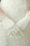 Elfenbein Spitze Kurze Satin Geeignete Volle finger Hochzeit Handschuhe