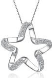 Schlüsselbein Frauen Silber fünf-Spitzen Stern eingelegten Diamant Halskette & Anhänger