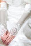 Super lange Fingerlose Dicke Spitze Elfenbein edel Hochzeit Handschuhe