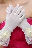 Elfenbein Kurze Transluzent Halle Bördeln Volle finger Hochzeit Handschuhe