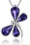 Libelle Frauen Kristall lila Silber liefern Großhandel Halskette & Anhänger