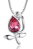 Frauen Blumen Kristall heißer Verkauf Silber Halskette & Anhänger