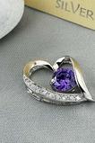 lila Silber Herzform eingelegten Diamanten Schmuck Frauen Halskette & Anhänger