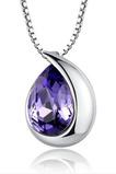 Groß Silber-Heart-shaped Mode Kristall Frauen Halskette & Anhänger