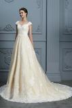 Frühling Trichter Reißverschluss Brautkleid mit kurzen Ärmeln