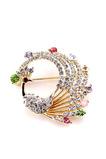 Eingelegten Diamant bunten Legierung Pfau Brosche