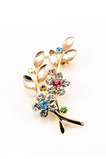 Eingelegten Diamant heißer Verkauf Frauen Zubehör Crystal Leaf Brosche