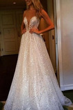 Sommer Bördeln Ärmellos Trichter Fegen zug Natürliche Taille Hochzeitskleid