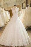 Spitze Kirche Formalen Bodenlänge Ärmellos Scoop Hochzeitskleid