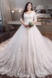 Königlicher Zug Formalen Natürliche Taille Bördeln Brautkleid