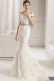 Draussen Perlengürtel Reißverschluss Zierlich Winter Brautkleid