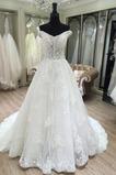 Natürliche Taille Spitze Rückenfrei Kirche Klassische Brautkleid
