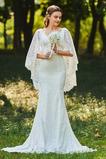 Spitze Reißverschluss V-Ausschnitt Elegante Spitzenbesatz Brautkleid
