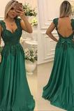Lange Rückenfrei Hochzeit Bördeln Natürliche Taille Abendkleid
