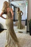 Meerjungfrau Fegen zug Bördeln Spitzenüberlagerung Abendkleid