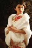 Elegant Winter Weiß Dicke Kristall Blumenbrosche Rechteck Hochzeit Schal