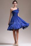 Eine Schulter Ärmellos Knielänge Mitte zurück Brautjungfernkleid