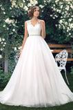 Natürliche Taille Abperleffekt Satiniert Übergröße Brautkleid