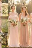 Fegen zug Bankett Ärmellos Frühling Reißverschluss Brautjungfernkleid