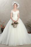Tüll Sanduhr Schnüren einfache Natürliche Taille Hochzeitskleid