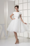 Sommer T Hemd Trichter Reißverschluss Brautkleid mit kurzen Ärmeln