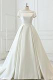 Satiniert Rückenfrei Drapiert Draussen Trichter Hochzeitskleid