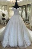 Klassisch Fallen Kathedrale Zug Brautkleid mit kurzen Ärmeln