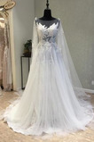Kapelle Zug Reiner zurück Natürliche Taille Fallen Brautkleid