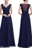 V-Ausschnitt Reiner zurück Durchschauen Elegante Ärmellos Abendkleid