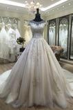 Kathedrale Zug Frühling Natürliche Taille Brautkleid mit kurzen Ärmeln