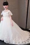 Winter Fegen zug Bateau Illusionshülsen Natürliche Taille Blumenmädchen kleid