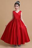 Hochzeit Natürliche Taille Drapiert Reißverschluss Blumenmädchen kleid