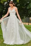 Spitze Natürliche Taille Ärmellos A Linie V-Ausschnitt Hochzeitskleid