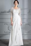 Bördeln Lange Frenal Chiffon Natürliche Taille V-Ausschnitt Brautkleid