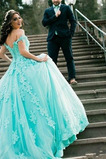 Ärmellos Sommer Appliques Swing Tau Schulter Klassische Brautkleid