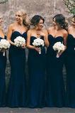 Natürliche Taille Klassisch Satiniert Trägerlose Brautjungfer kleid