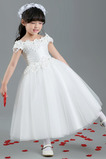 Natürliche Taille Satiniert A Linie Kurze Ärmel Kleine Mädchen Kleid