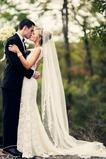 Elfenbein Spitze Spitze Mit Kamm Lange Lange Hochzeitsschleier