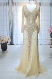 Juwel akzentuiertes Mieder V-Ausschnitt Natürliche Taille Einfache Abendkleid