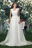 Bördeln einfache Tüll Ärmellos A Linie V-Ausschnitt Hochzeitskleid