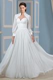 Lange Ärmel Draussen Natürliche Taille Spitzenbesatz Brautkleid