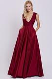 Trichter Ärmellos A Linie hoch gedeckt Elegante V-Ausschnitt Abendkleid