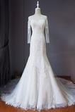 Strand Schnüren Juwel Spitzenbesatz Lange Ärmel Hochzeitskleid