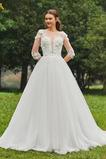 Sommer Dünn Bateau Natürliche Taille Schöne Draussen Brautkleid