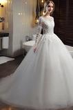 Frenal Trichter Natürliche Taille A Linie Lange Ärmel Hochzeitskleid