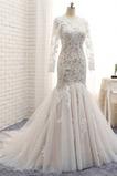 Tüll Elegante Strand Meerjungfrau Trichter Illusionshülsen Brautkleid
