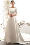 Akzentuierter Bogen Natürliche Taille Brautkleid mit kurzen Ärmeln