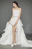 romantische Reißverschluss Drapiert Hoch niedrig Chiffon Brautkleid