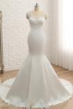Lange Meerjungfrau Dünn Spitze Juwel Appliques Hochzeitskleid