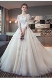 3/4 Länge Ärmel Zurückhaltend Illusionshülsen Hochzeitskleid